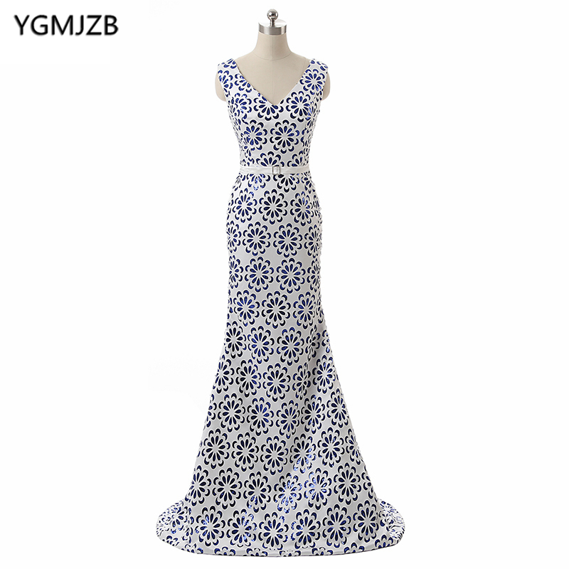 Cheap Floral Print Long Evening Dresses 2018 Mermaid V Neck Sleeveless Lace Up Back Dubai Arabic Formal Evening Party Gowns