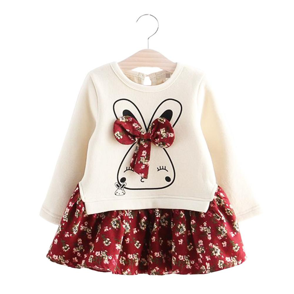 2 3 4 5 6 Year Baby Girls Dress 2018 New Flower Printed Thicker Spring Children Princess Dresses Long Sleeve Rabbit Kids Clothes flower girls princess dress new year