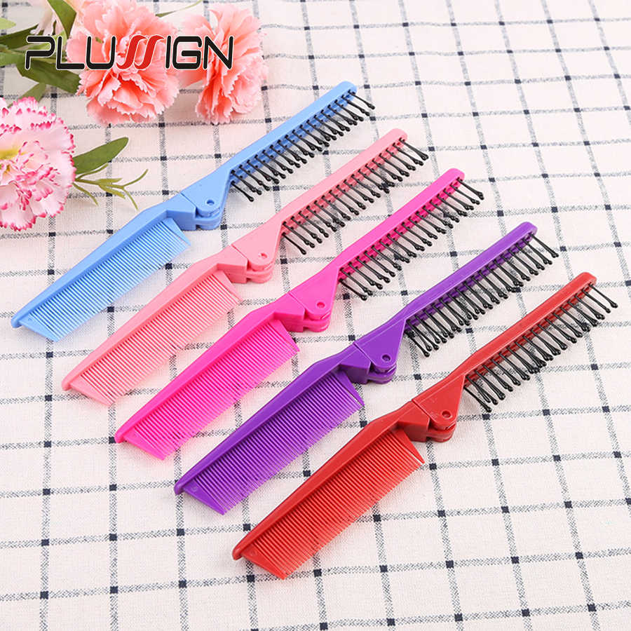 Plussign Plastic Double Headed Foldable Fine Teeth Hair Comb 1Pcs Anti Static Hair Brush Tangle Brush For Girls Black Blue Red