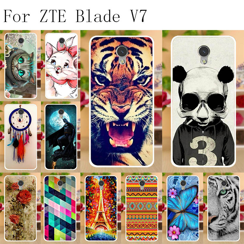Anunob Soft TPU ZTE Blade V7 Case Cover Silicon Painted Phone Back Protective Coque FOR Bumper Bags