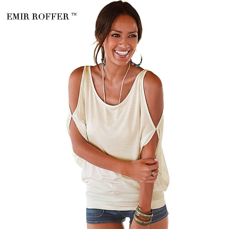 EMIR ROFFER 2017 Sexy Hombro Camiseta Superior Ocasional de Las Mujeres O Cuello