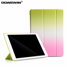 for new ipad 9.7 case 2017 release,dowswin pu leather smart wake up sleep wiht pc back cover rainbow gradient flip stand