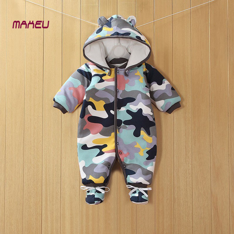2017 NEW Baby Rompers Winter Thick Warm Baby boy Clothing Long Sleeve Hooded Jumpsuit Kids Newborn Outwear for 0-18M new baby rompers winter thick warm baby boy clothing long sleeve hooded jumpsuit kids newborn outwear for 0 12m