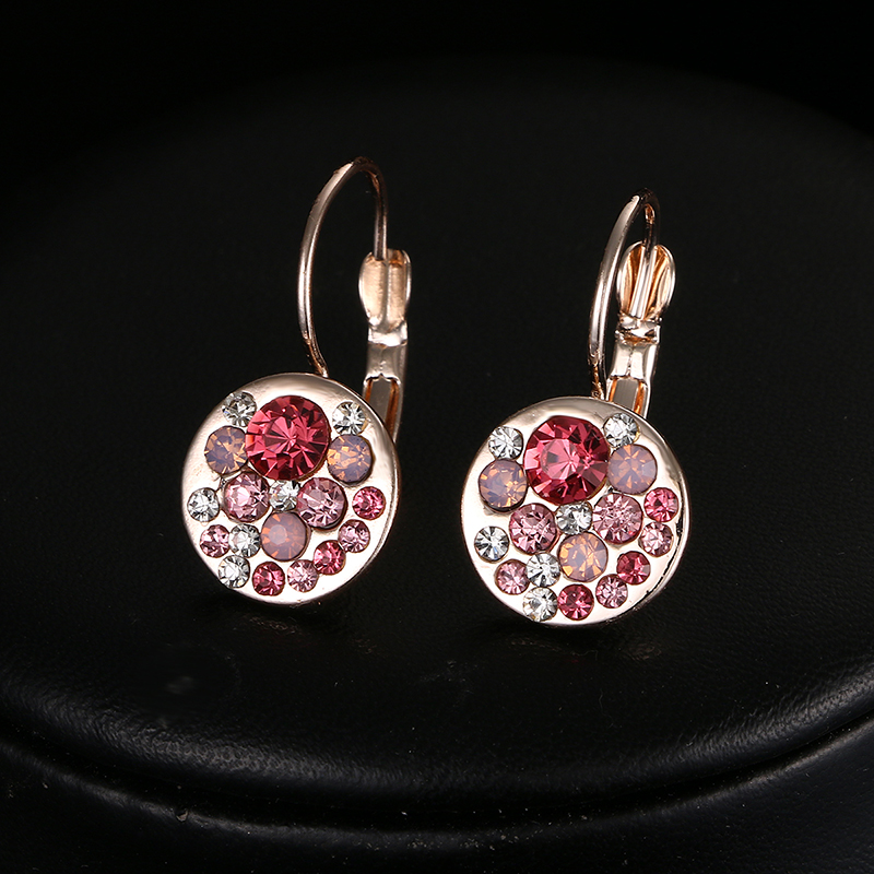 Emmaya Hot Sales Clip Earrings for Women Pink Crystal Earrings Accessories Top Quality Wedding Crystal Jewelry Factory Price