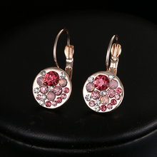 Hot Sales Clip Earrings for Women Pink Crystal Accessories Platinum Gold Plated Jewelry