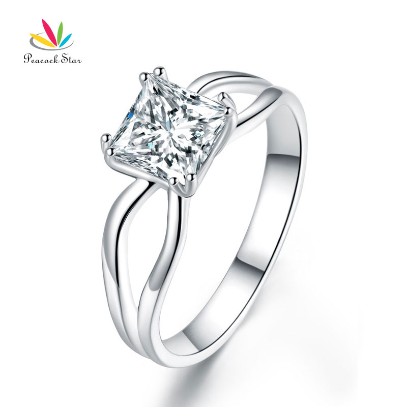 Павлин звезда принцесса 1 CT твердый 925 Серебряное кольцо обещание Юбилей Обручение Свадебные украшения cfr8289