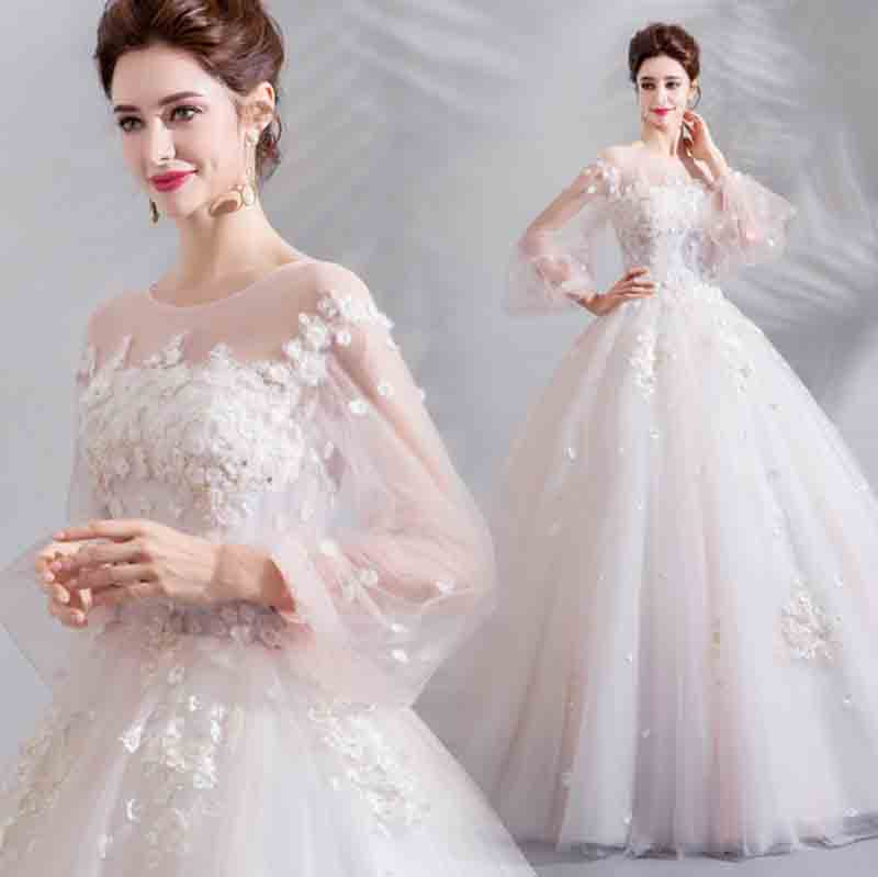 Grande taille 5XL personnalisé de luxe soirée robe blanche de mariage broderie dentelle maille à manches longues robe de mariée pour dame grande taille
