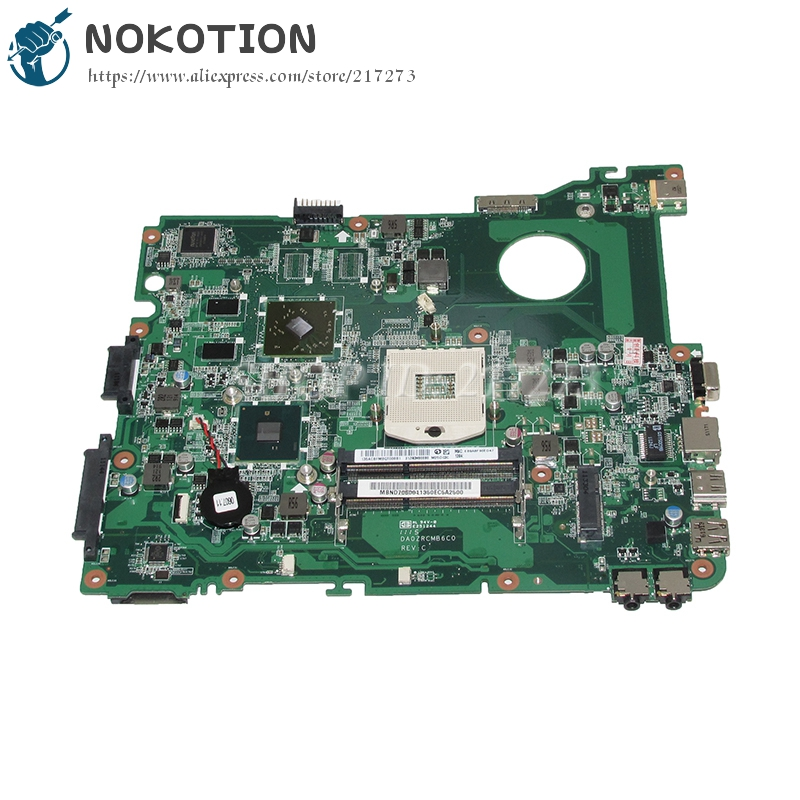 NOKOTION Mainboard For Acer eMachines E732 E732Z Laptop Motherboard DA0ZRCMB6C0 MBND706001 MB.ND706.001 HD6730M HM55 Graphics laptop motherboard fit for acer aspire 3820 3820t notebook pc mainboard hm55 48 4hl01 031 48 4hl01 03m