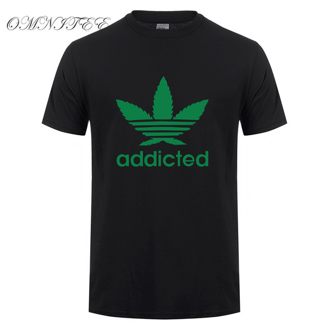 New Addicted White Leaf T Shirt Men Summer Fashion Short Sleeve Cotton Weed Day T Shirts O-neck Funny Mens T-shirt Tops OT-939