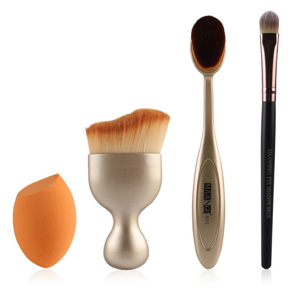 Hot Sale Basic 4 in 1 Facial Make Up Brush Kit Nylon Wool Brushes for Foundation Blush Eye and Powder Puff in Opp Bag 3 Colors