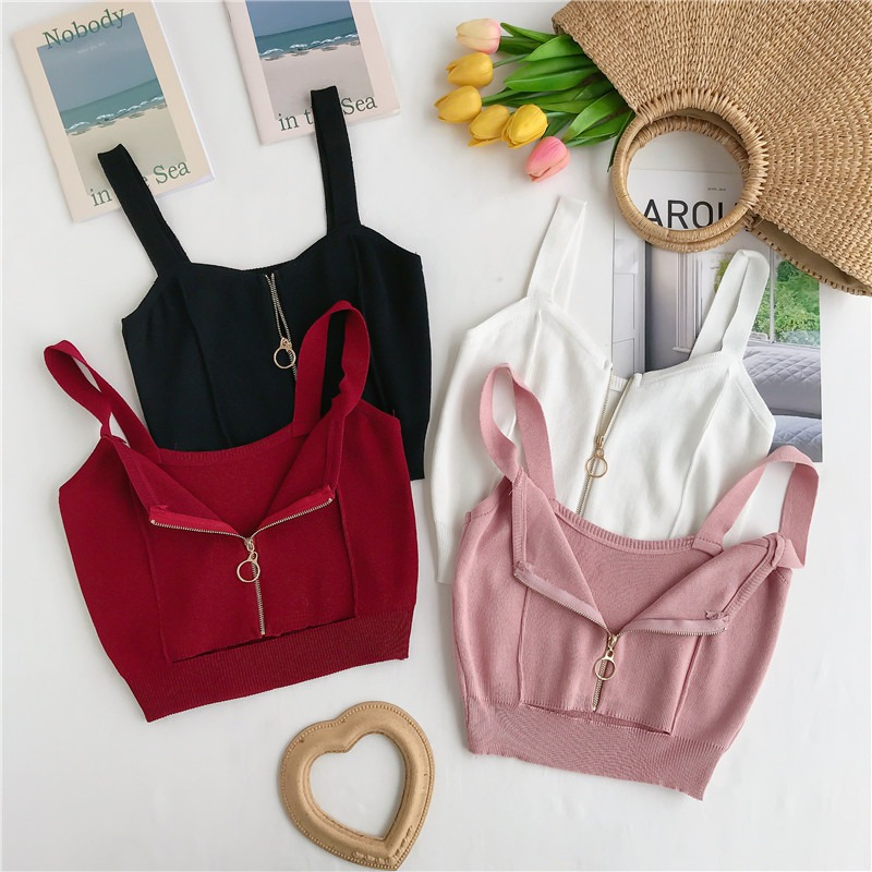 V Neck Sleeveless Tank Top Women 39 s Knitted Tops Cropped Top Summer Women Zipper Camisole in Tank Tops from Women 39 s Clothing