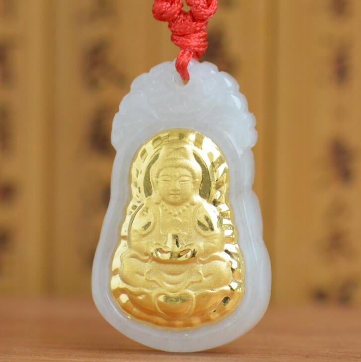 Top Quality White Hetian Buddha Pendant Jade Good Luck Gold Jade Necklaces Men Women Pendants Fine Jewelry buddha pendant necklace for men jade necklace for men gold jade good luck gold pendant buddha necklace