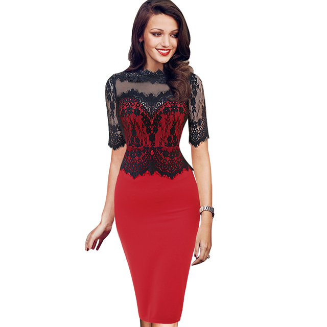 c0acf5bc9ed Womens Elegant Floral Lace Casual Dress Party Evening Bodycon Special  Occasion Bridemaid Mother of Bride Dress 219