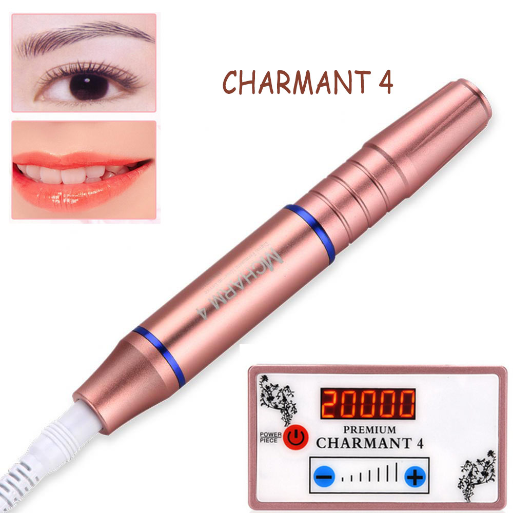 Newest Charment 4 Permanent Makeup Machine Set Eyebrow Lip Line Tattoo MTS Device Portable Electric Microblading