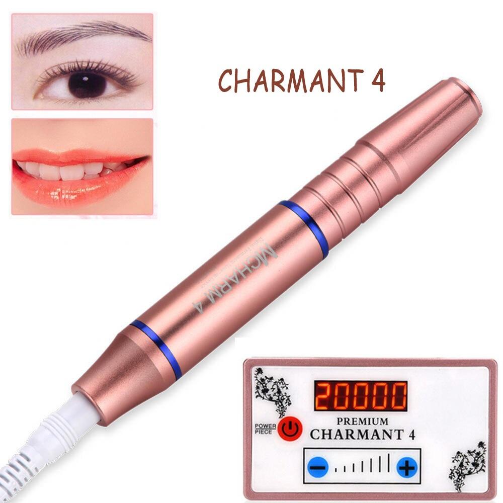 Güzellik ve Sağlık'ten Dövme Tabancaları'de Yeni Charment 4 Kalıcı Makyaj Makinesi Seti Kaş Dudak Hattı Dövme MTS Cihazı Taşınabilir Elektrikli Microblading Kalem AB 110  240 V'da  Grup 1