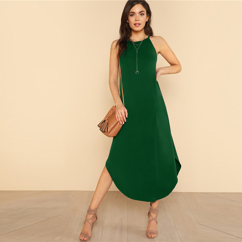 COLROVIE Keyhole Back Halter Curved Hem Party Dress 2018 New Green Loose Sleeveless Summer Dress Halter Shift Long Women Dress 9