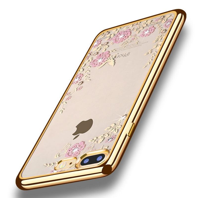 Luxusní pouzdro na telefon drahokamu květiny měkký silikonový průhledný kryt pro iPhone 6 případ 5s 6 plus SE pouzdra pro iPhone 7 případ kryt telefonu