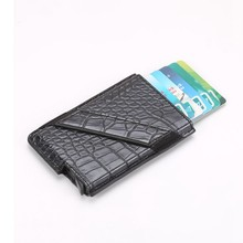 2019 New Aluminum Alligator Leather Rfid Blocking Wallet ID Bank Card Holders Automatic Metal slide Credit Card Protector Case(China)