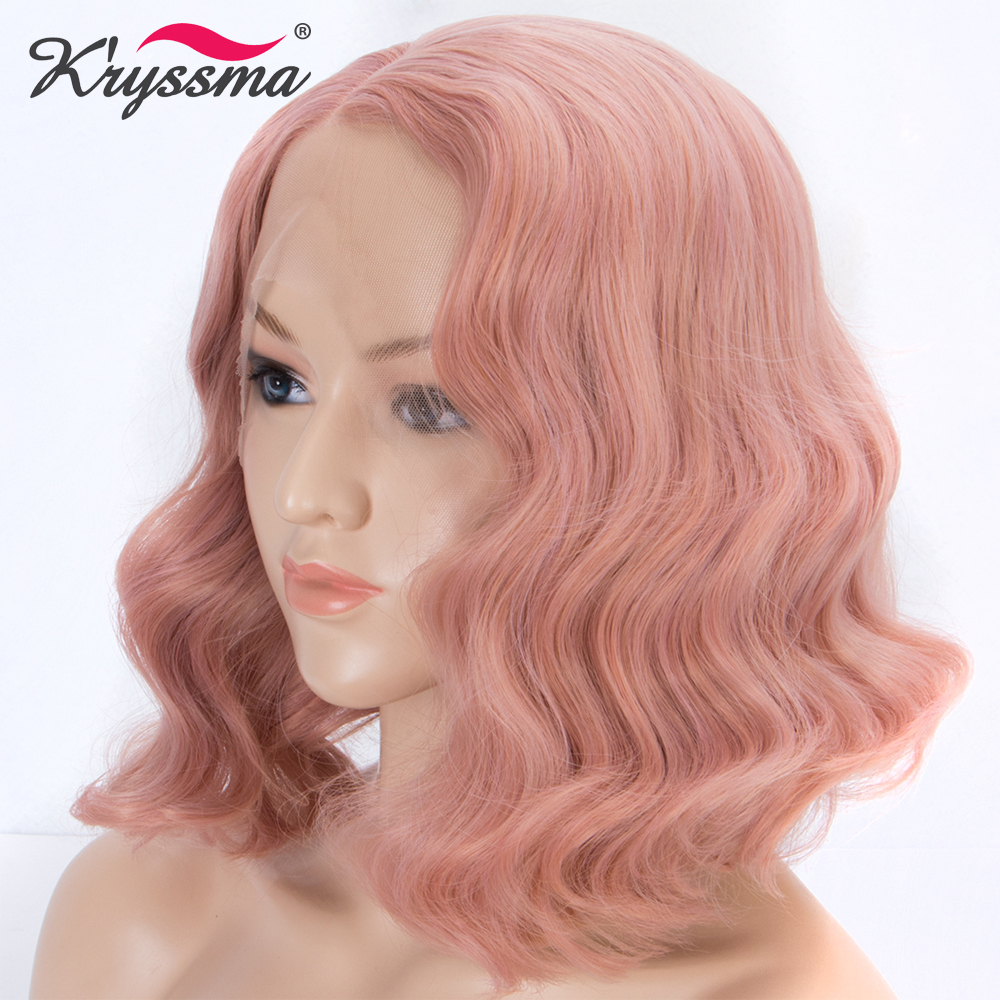 Peach Pink Wigs for Women Short Bob Synthetic Lace Front Wig Rose Golden Mixed Color Wavy
