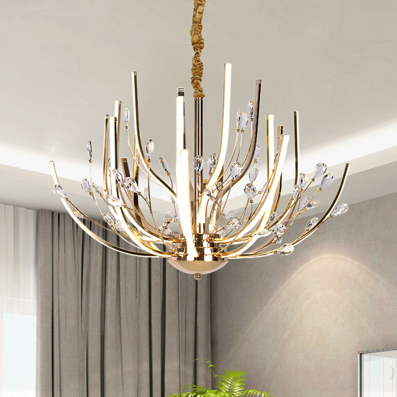 Simple Postmodern K9 crystal Chandeliers AcrylicLighting LED Lustre Creative Living room Lamps Restaurant Lights Fixture