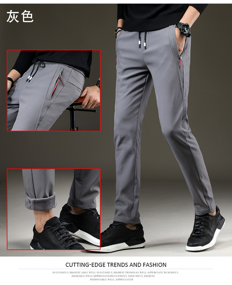 Mens Warm Pants for Winter Korean Slim Fit Fleece Lined Trousers Skinny Stretch Trousers Male Casual Elastic Waist Fashion Young 18