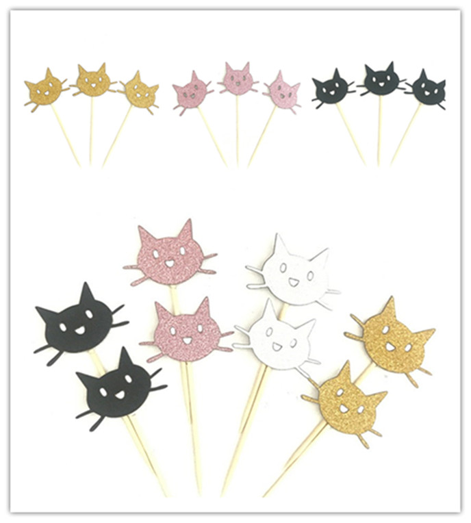 12Pcs <font><b>Cat</b></font> Cupcake <font><b>Toppers</b></font> for kids Birthday Party Wedding Decor Supplies Sliver Gold Pink <font><b>Black</b></font> Pick Top Flag Decoration image
