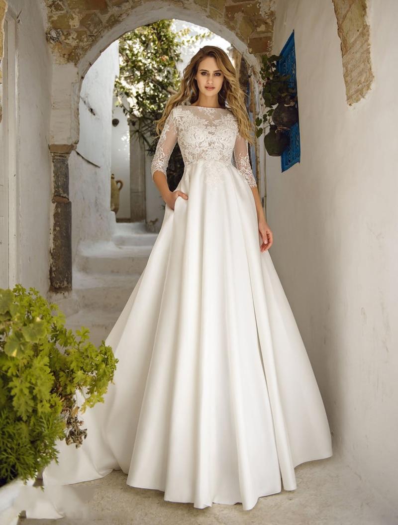 White A Line Bridal Dress 2020 Long Sleeves Lace Applique Wedding Dresses Pocket Romantic Vestido De Noiva V Neck Wedding Gown
