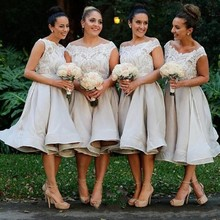 Vintage Knee Length Bridesmaid Dresses for Weddings Party Lace Cap Sleeves Draped Ruffles Guest Prom Gowns