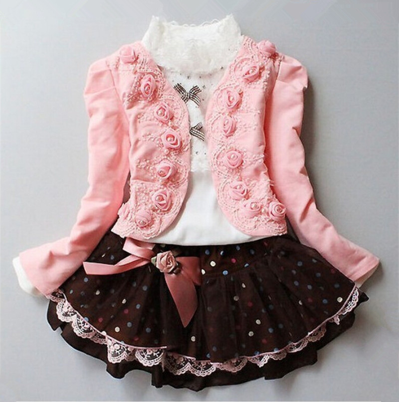 2016  pring / Autumn Baby Girl Clothing Set Lace Children Cloth Suit Long Sleeve Bow Kids 2PCS Top DRESS 2016 spring new pattern korean children s garment girl baby lace back will bow dress girl jacket