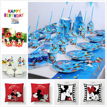 Mickey Maus Kinder Geburtstag Party Set Dekoration Partei Liefert Papier Tasse Platte Serviette Banner/Flagge Hut Stroh Candy/popcorn box(China)