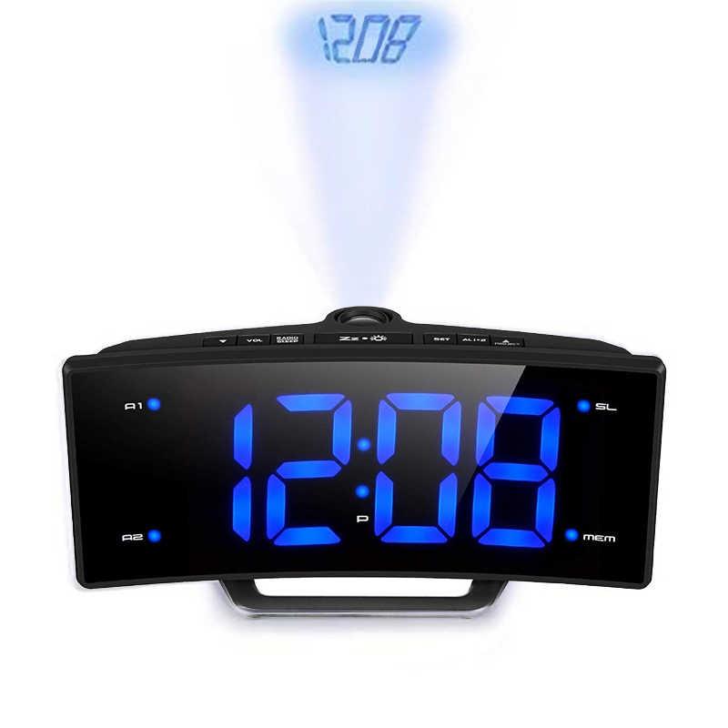 Cermin FM Radio Jam Alarm LED Digital Elektronik Meja Proyektor Jam Meja Nixie Proyeksi Jam Alarm dengan Waktu Proyeksi