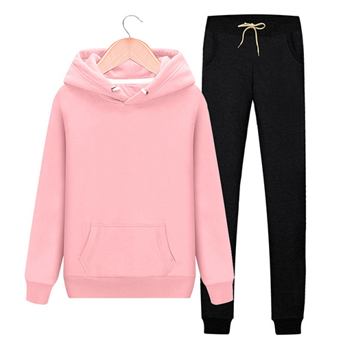 Women's Autumn Winter Cotton Tracksuit Hoodie+Splice Long Pants 2Pc Set 1
