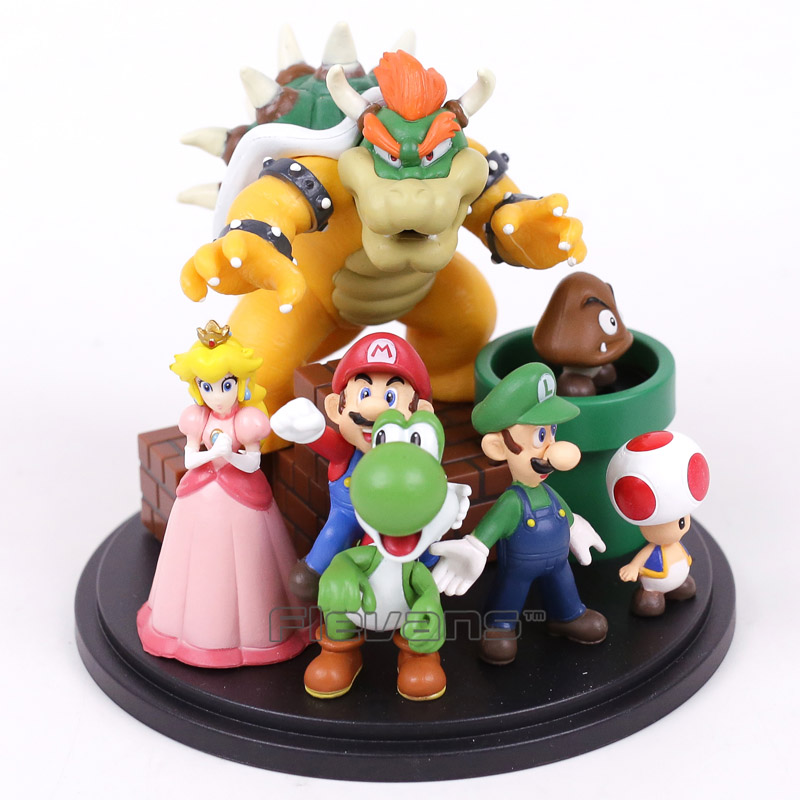 цена Super Mario Bros Bowser Princess Peach Yoshi Luigi Toad Goomba PVC Action Figure Toy Model онлайн в 2017 году