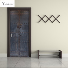 ФОТО yunxi 2017 new 3d door stickers chinese old wooden door stickers living room bedroom background wall decoration pvc wall sticker
