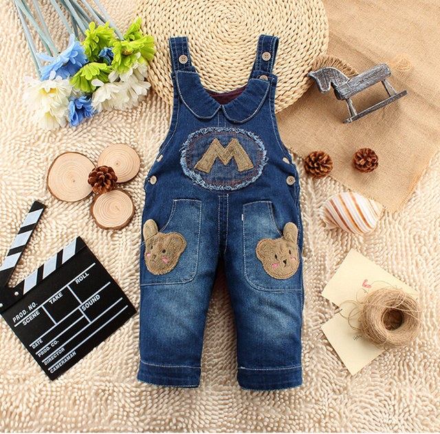 2016 Kids Jeans Overall Character Long Pants Infant Baby Soft  Denim Children Trousers Jumpsuit Overalls Denim  for a Boy