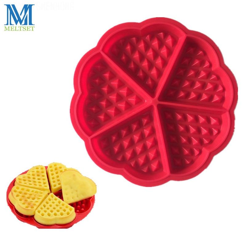 Formă de inimă Siliconă Waffle Moldă Cuptor Bakeware 5-Cavitate - Bucătărie, sală de mese și bar