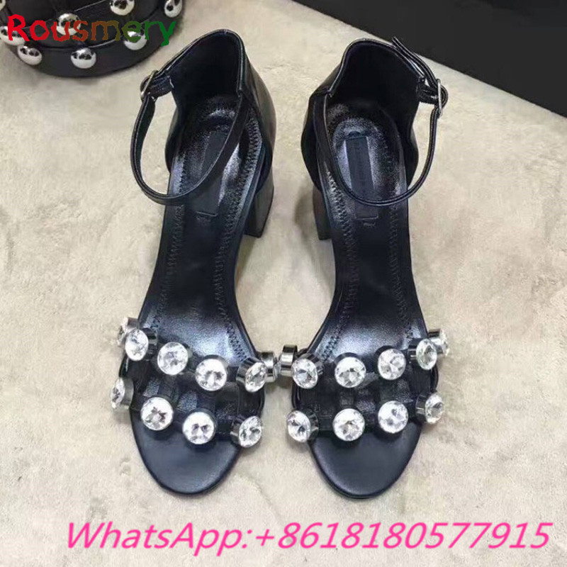 2017 New Arrival Bling Crystal Chunky High Heels Woman Sandals Summer Party Cover Heel Zapatos Mujer Tacon Ankle Strap Shoes