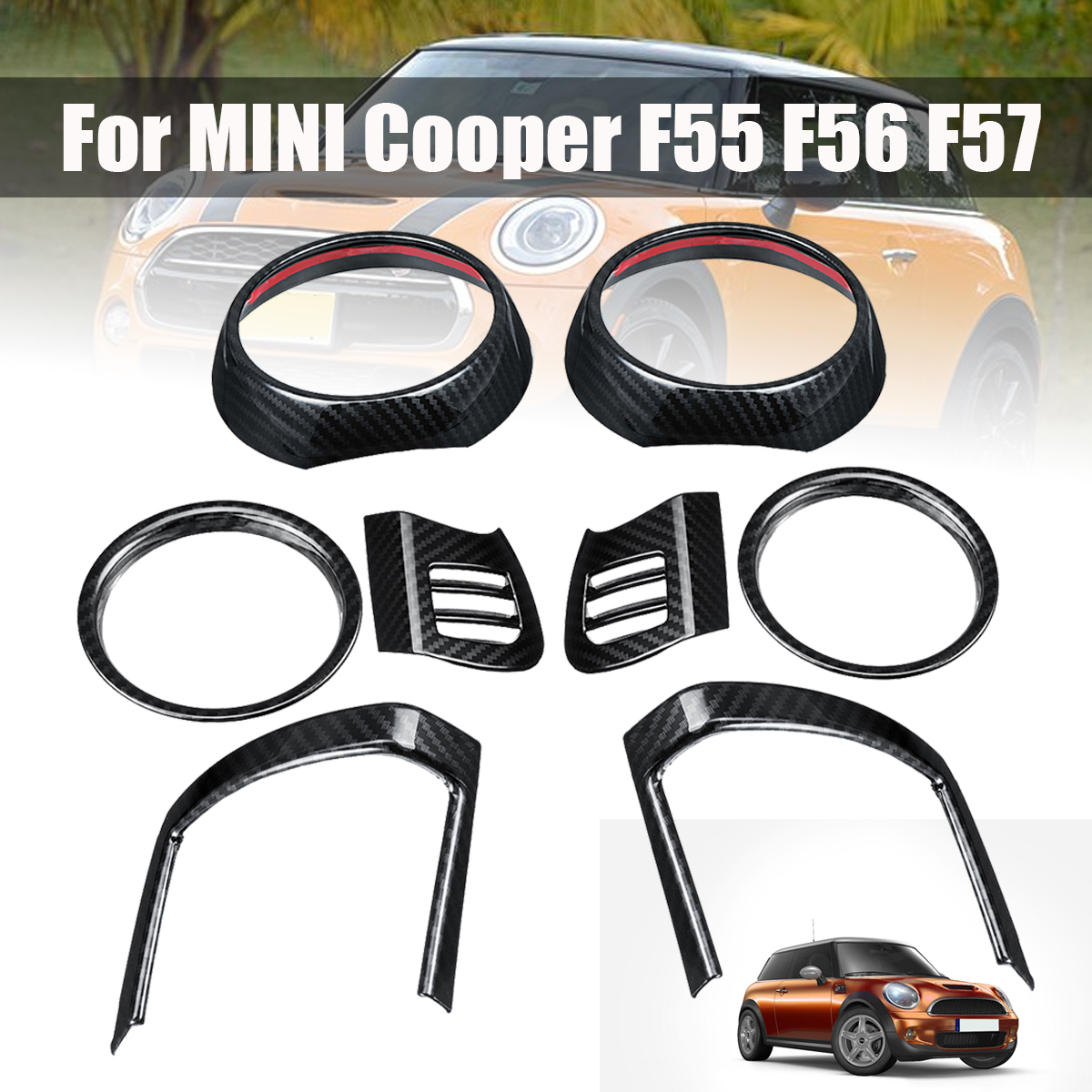 цены 8Pcs Dash Air Vent Cover for BMW for MINI for Cooper F55 F56 F57 Auto Interior Mouldings Carbon Fiber Air Outlet Stickers Trims
