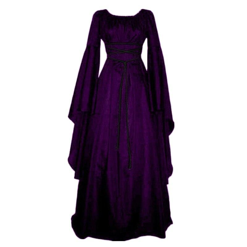 2018 Halloween Vintage Waist Lace Up Medieval Women Dress Gothic Irregular Sleeve Female Maxi Dresses Retro Bandage Vestidos