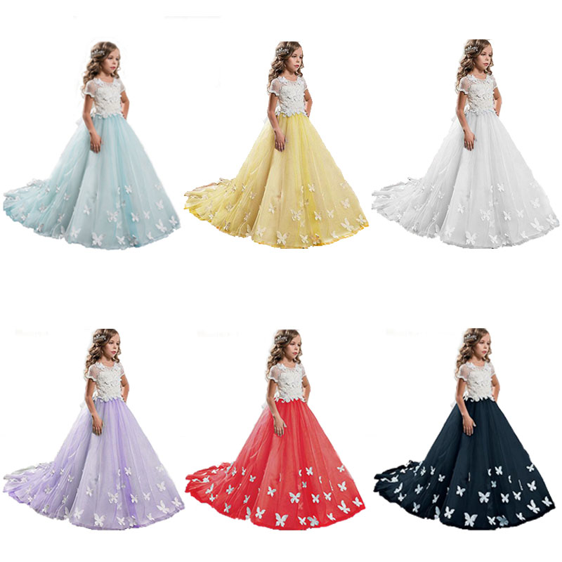 High Quality   Flower     Girl     Dresses   Puffy Tulle Ball Gown O-Neck First Communion Gown   Girls   Pageant   Dress   Custom Made Size
