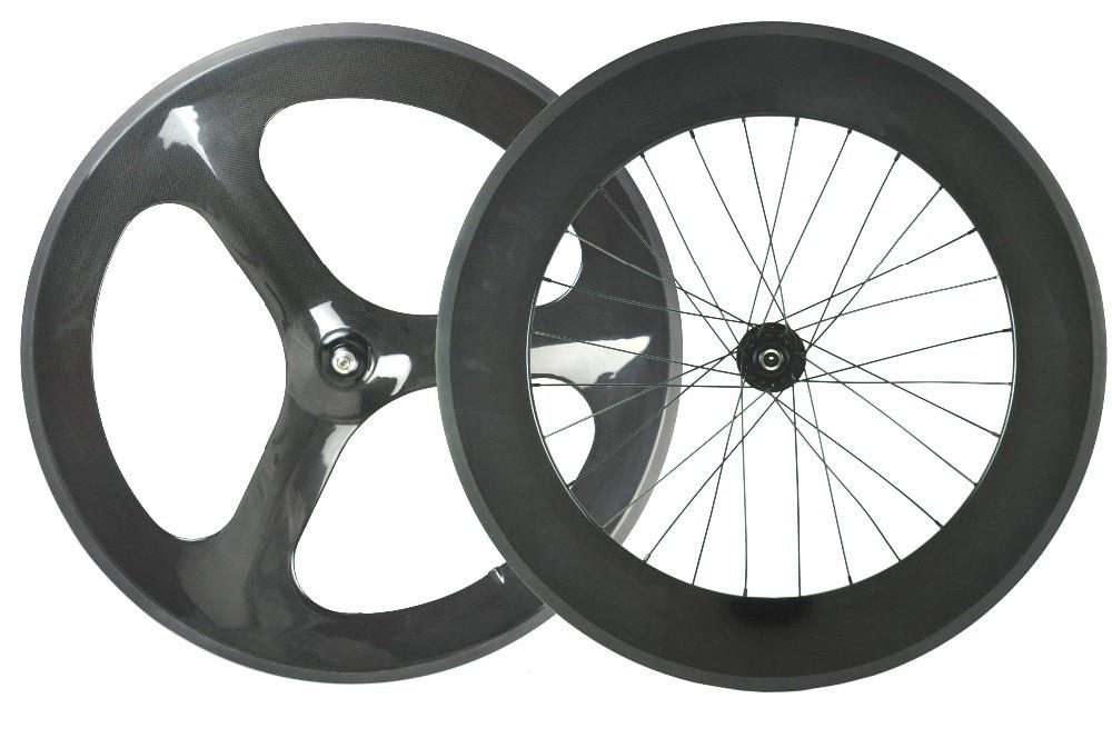 carbon tri 3 spoke front and 88mm rear bike wheel track bike wheelset 23mm width road bicycle wheelset стоимость