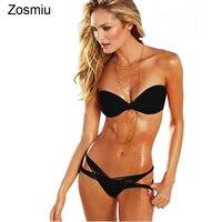 Sexy String Bikinis Women Brazilian Swimsuit Strapless Bikini Set 2016 New Swimwear Women Bathing Suit Padded
