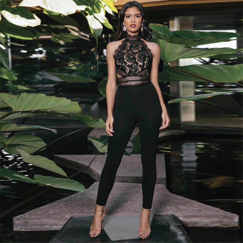 New Fashion Black Lace Jumpsuit High Quality Rayon Bodyocn Sleeveless Backless Sexy Evening Party Bandage Jumpsuits Dropshipping