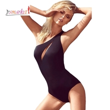 New Design Women Summer One Shoulder One Piece Swimsuit Black Monokini Open Bra Sexy S M L Bodysuit Female teddy swimwear 40953
