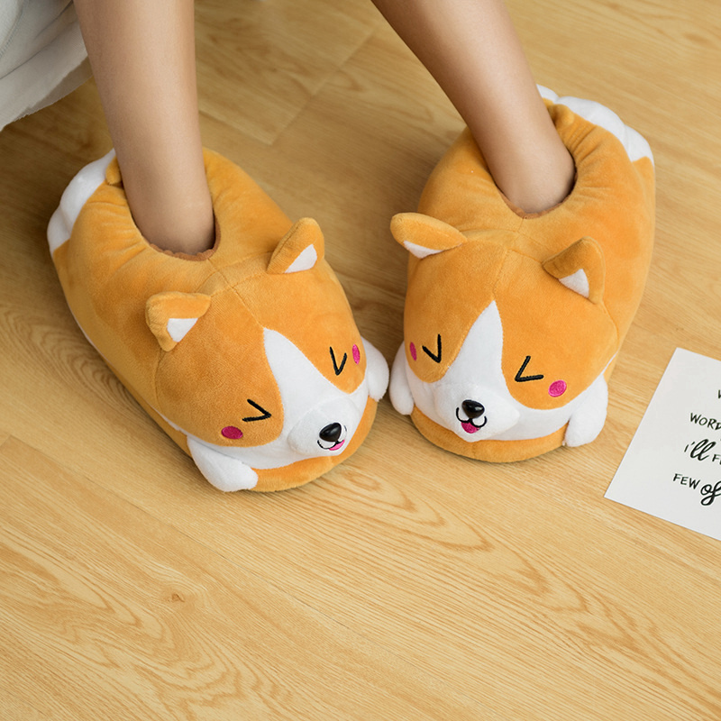 New Kawaii Corgi Husky Dog  Pluls Toy Soft Stuffed Plush Corgi  Rabbit Indoor Shoes Girls Bedroon Ornament Doll