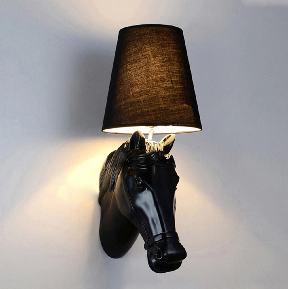 Surface Mounted Modern Wall Lamp LED Fabric Lampshade Black/White Horse Head Sconce Wall Lights for Bedroom Indoor Lighting 220V indoor wall mounted led wall sconce up down led wall lamp lighting input 220 240v