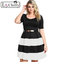 Apricot Stripes Detail Belted Plus Size Skater Dress LC22806 New Fashion Style Roupas Femininas Elegant Hollow