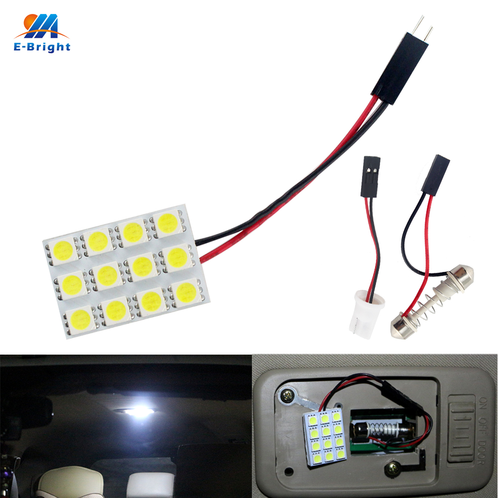 100PCS White Car Light Sourcing T10 Festoon Adapters 12V DC SMD 5050 3 Chips 12LED Light