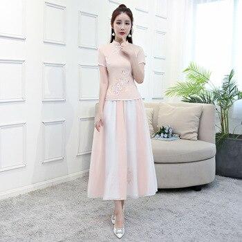095c63f3677 2018 новая летняя женская блузка юбка комплекты Традиционный китайский стиль  2 шт. рубашка воротник-стойка Cheongsam Qipao платье S-XXL