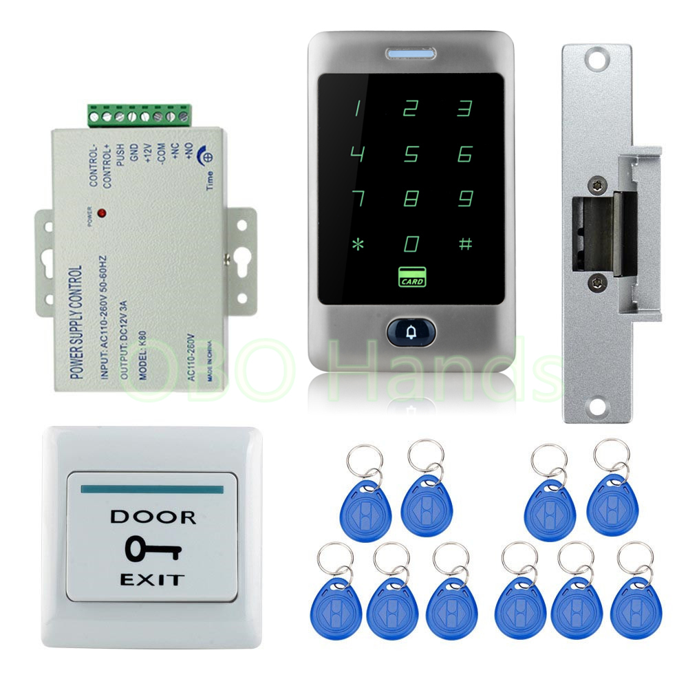 High Quality DIY Waterproof Metal 125KHz Rfid Card Door Access Control Security System Kit with Fail